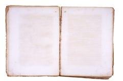 Libro viejo abierto en ambas paginaciones en blanco. Fotos de archivo