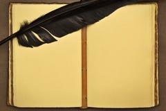 Libro viejo, abierto y claro, con una pluma del vintage Fotografía de archivo libre de regalías