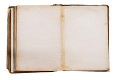 Libro viejo con las paginaciones manchadas amarillas en blanco imagenes de archivo