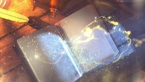 Libro viejo de la animación mágica que mueve de un tirón la página clara stock de ilustración