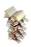 Libro viejo y dinero Imágenes de archivo libres de regalías