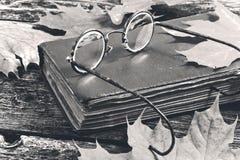 Libro viejo y vidrios en un fondo del yute Imágenes de archivo libres de regalías