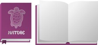 Libro violeta abierto y cerrado con la tortuga libre illustration