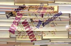 Libro y fondo y Wordcloud de la publicación Fotografía de archivo libre de regalías