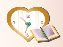 Libro y reloj fotografía de archivo