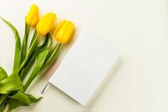 Libro y tulipanes amarillos Imagen de archivo