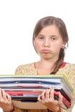 Libros bastante adolescentes de la explotación agrícola de la muchacha Foto de archivo libre de regalías