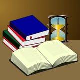 Libros científicos en la tabla con reloj de arena foto de archivo libre de regalías