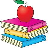Libros con la manzana ilustración del vector