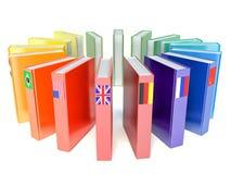 Libros con las banderas de los países Fotos de archivo libres de regalías