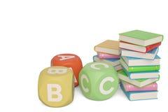 Libros con los cubos del ABC en el fondo blanco ilustración 3D ilustración del vector