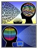 Libros contra el ordenador Imagenes de archivo