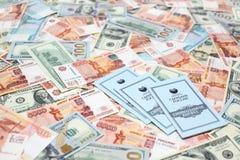 Libros de banco de la caja de ahorros de la Federación Rusa Foto de archivo