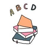 Libros de escuela de ABC Esquema con diversos colores en el fondo blanco Ilustraci?n del vector ilustración del vector