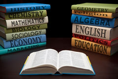 Libros de estudio de la educación del conocimiento Foto de archivo libre de regalías