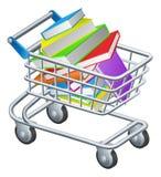 Libros de la carretilla de las compras Imagenes de archivo