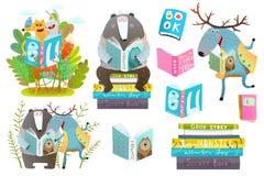 Libros de lectura elegantes de los animales fijados libre illustration