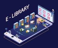 Libros de lectura de la gente a través de ilustraciones isométricas del app móvil ilustración del vector