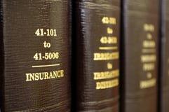 Libros de ley en seguro Imágenes de archivo libres de regalías