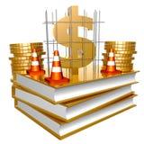 Libros de oro acerca del asunto y del dinero de la fabricación Imágenes de archivo libres de regalías