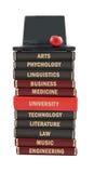 Libros de textos sujetos de la universidad Imágenes de archivo libres de regalías