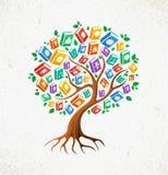 Libros del árbol del concepto del conocimiento y de la educación Fotos de archivo