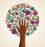 Libros del icono del árbol de la educación Fotos de archivo