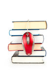 Libros del ratón y de la pila del ordenador Foto de archivo libre de regalías