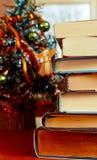 Libros delante del árbol de Chrismas Fotografía de archivo