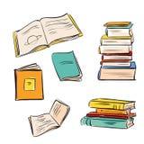 Libros dibujados mano del color fijados Imagen de archivo libre de regalías