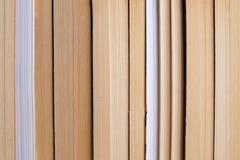 Libros dispuestos de lado a lado en un estante Foto de archivo