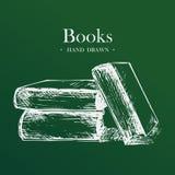 Libros, ejemplo dibujado mano del vector del bosquejo Imágenes de archivo libres de regalías