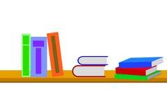 Libros en el estante en el fondo blanco libre illustration