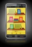 Libros en el teléfono elegante Imágenes de archivo libres de regalías