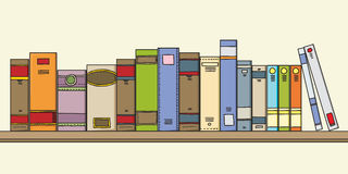 Libros en estante ilustración del vector