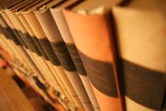Libros en un estante Fotos de archivo libres de regalías