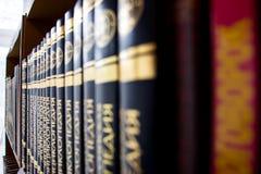 Libros en un estante en la biblioteca Imagen de archivo