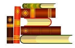 Libros fijados en el fondo blanco, ejemplo Pila de ejemplo de libros icono ilustración del vector