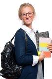 Libros jovenes felices de la explotación agrícola de la muchacha del estudiante De nuevo a escuela Foto de archivo