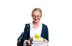 Libros jovenes felices de la explotación agrícola de la muchacha del estudiante De nuevo a escuela Imagen de archivo