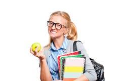 Libros jovenes felices de la explotación agrícola de la muchacha del estudiante De nuevo a escuela Imagen de archivo libre de regalías