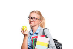 Libros jovenes felices de la explotación agrícola de la muchacha del estudiante De nuevo a escuela Foto de archivo libre de regalías