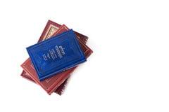 Libros judíos en un fondo blanco, salmos de David Imagen aislada, lugar para el texto Fotografía de archivo