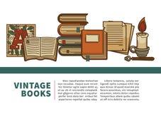 Libros manuscrito del vintage y pila de los volúmenes de los libros de texto de historia libre illustration