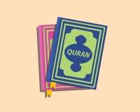 Libros musulmanes del Islam del Quran con vector plano del estilo libre illustration
