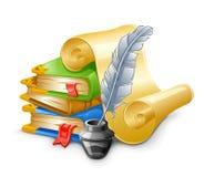 Libros, papiro, pluma. ilustración del vector