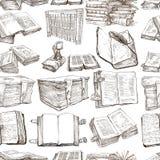 Libros Paquete de ejemplos dibujados una mano, inconsútil Imagenes de archivo