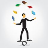 Libros que hacen juegos malabares del hombre stock de ilustración