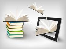 Libros que vuelan en una tablilla. Vector Fotos de archivo