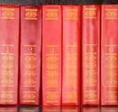 Libros rojos que se colocan en una fila Imagen de archivo libre de regalías